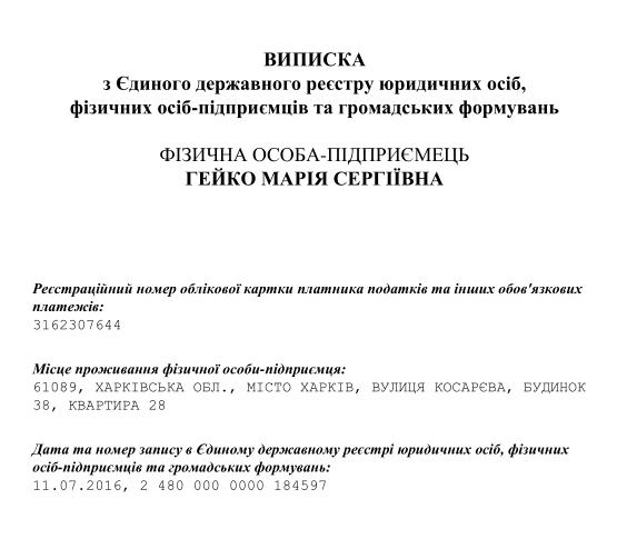 Выписка из гос реестра про предпринимательскую деятельность