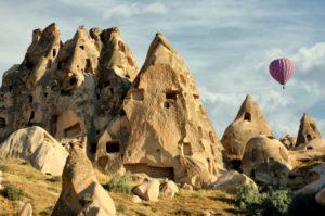 горы, воздушные шары, Турция