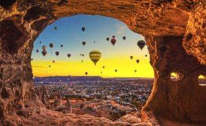 шары, скалы, восход солнца